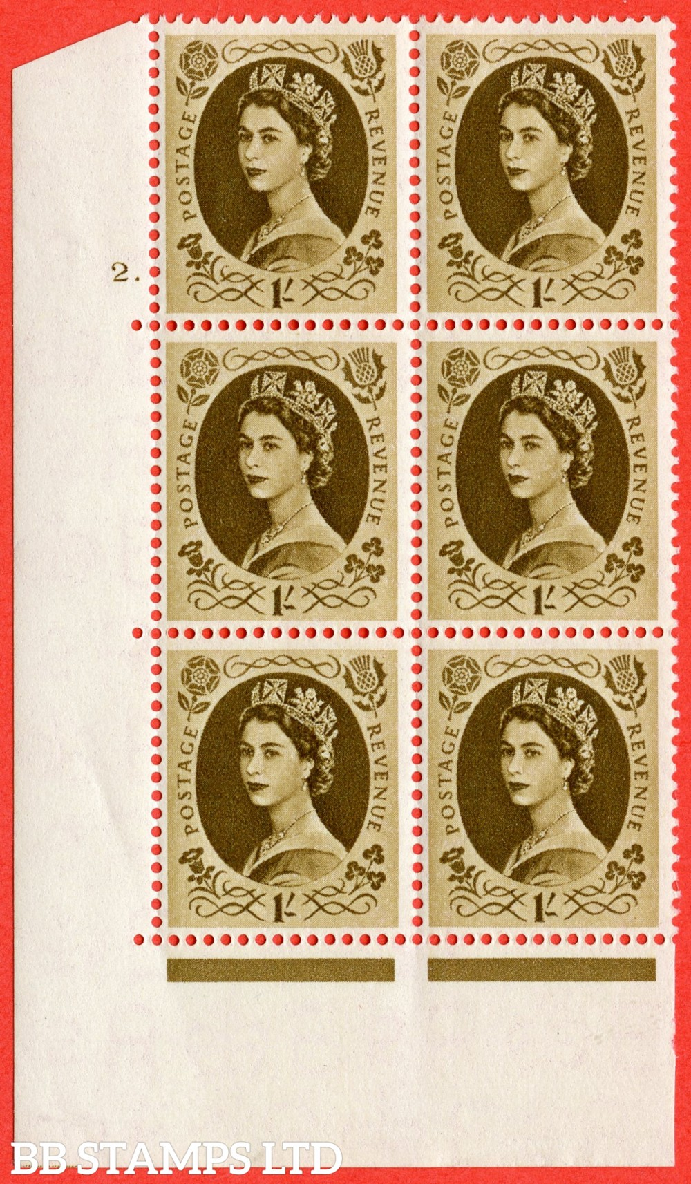 "SG. 557. S137. 1/- Bistre - brown. A superb UNMOUNTED MINT "" cylinder 2 dot "" control block of 6 with perf type A E/I."