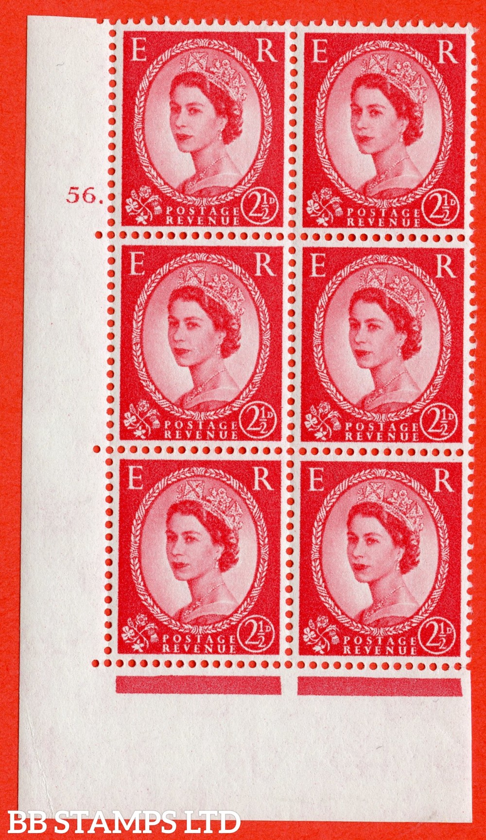 "SG. 574. S57. 2½d Carmine - red.Type II. A superb UNMOUNTED MINT "" cylinder 56 dot "" control block of 6 with perf type A E/I. WHITE paper."