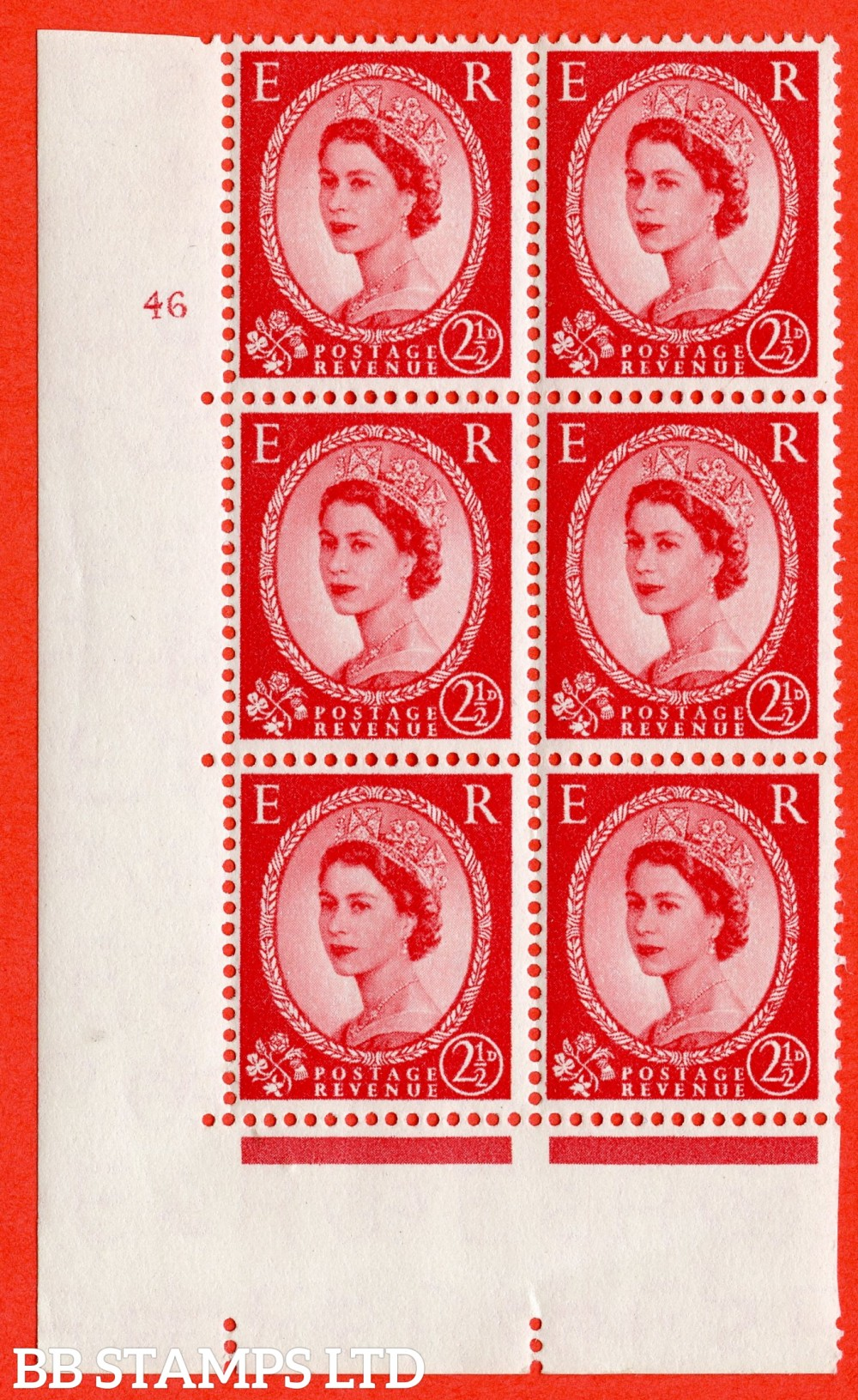 "SG. 544b. S53. 2½d. Carmine - Red Type II. A superb UNMOUNTED MINT "" cylinder 46 no dot "" control block of 6 with perf type A E/I."