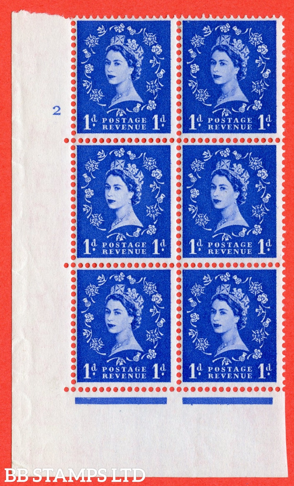 "SG. 541. S14d. 1d. Ultramarine. A fine lightly mounted mint "" cylinder 2 no dot "" control block of 6 with perf type A E/I  with "" Shamrock Flaw "" Row 18/2."