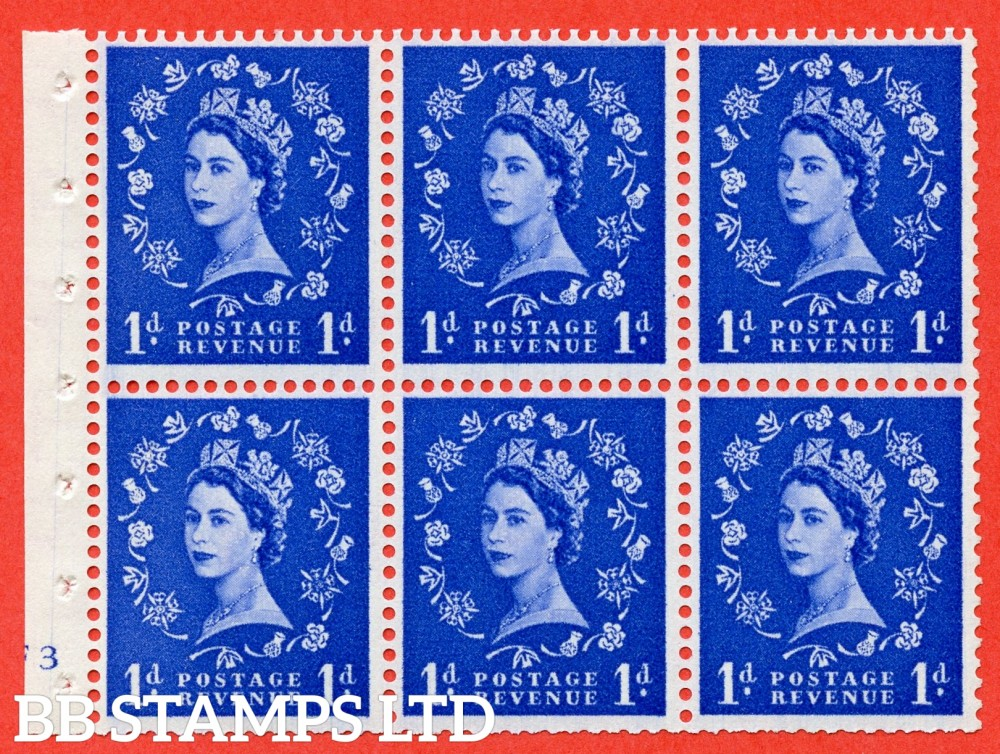 "SG. 541. SB26. 1d ultramarine. A fine UNMOUNTED MINT cylinder "" F3 no dot "" booklet pane of 6. Perf type (I) with TRIMMED PERFS. Smooth edge."