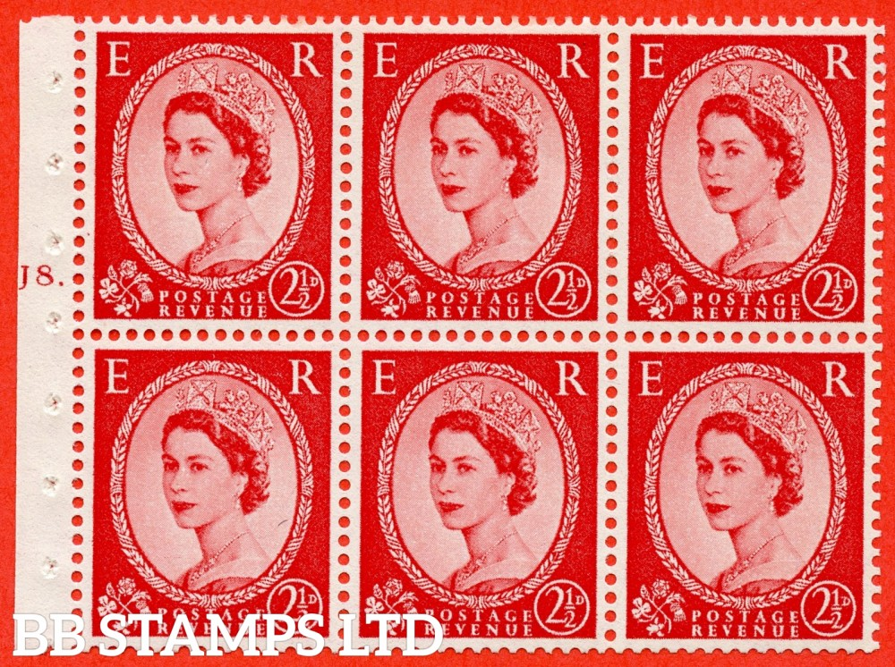 "SG. 544b. SB81. 2½d carmine - red. A fine UNMOUNTED MINT "" J8 T dot "" booklet pane of 6. Perf type (Iet) with GOOD PERFS. Smooth edge."