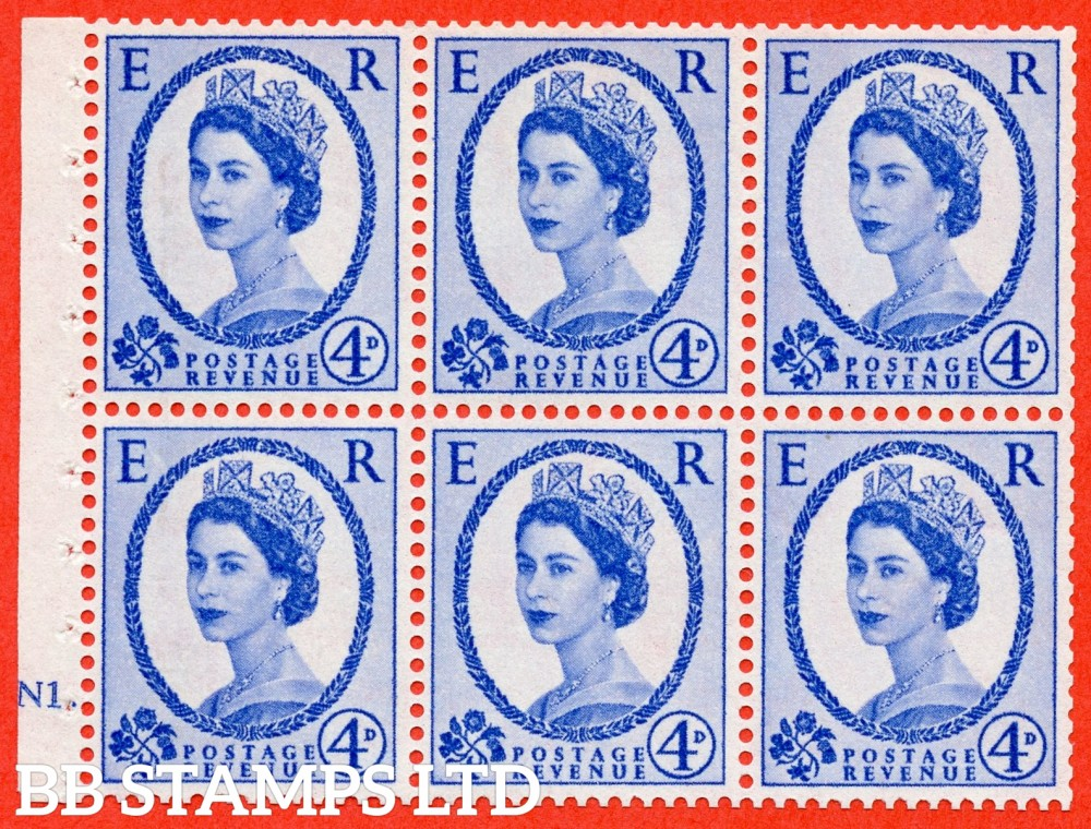"SG. 576a. SB105. 4d Deep Ultramarine. A fine mounted mint cylinder "" N1 dot "" booklet pane of 6. Perf type (Ieb) with TRIMMED PERFS. Smooth edge. White paper."