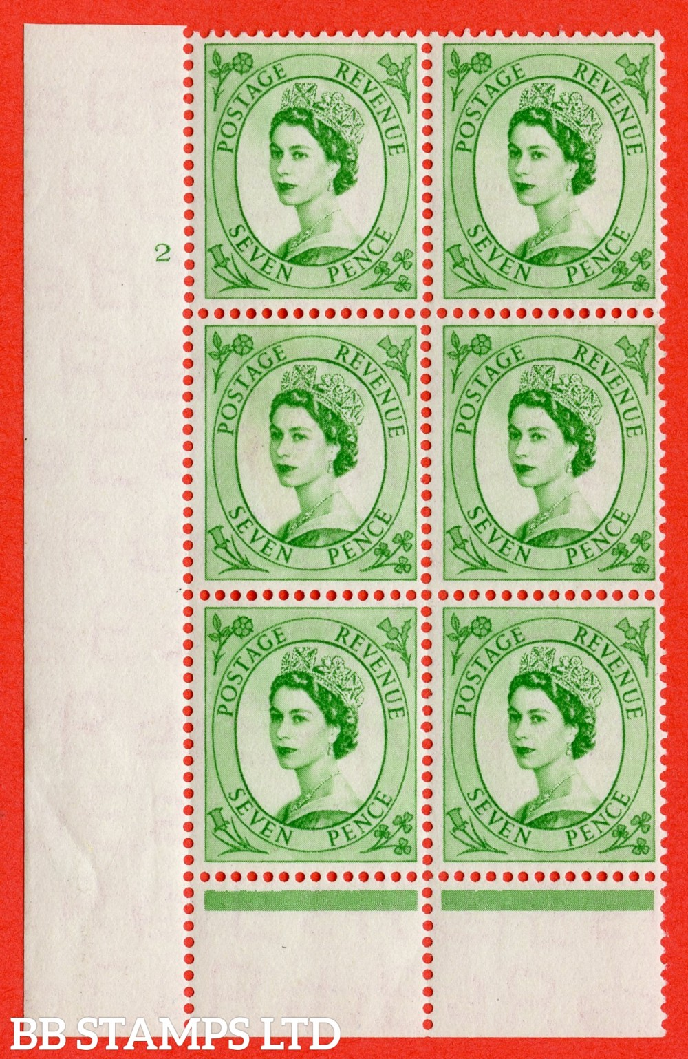 "SG. 524. S114. 7d Bright Green. A fine lightly mounted mint "" cylinder 2 no dot "" control block of 6 with perf type B I/P."
