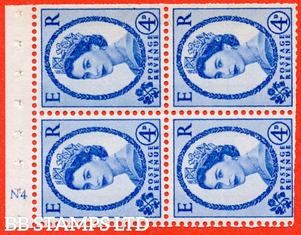 "SG. 616a. SB112a. 4d Deep Ultramarine. A fine UNMOUNTED MINT cylinder "" N4 ( Wmk Right ) no dot "" booklet pane of 4. Perf type (I) with TRIMMED PERFS. Smooth edge"