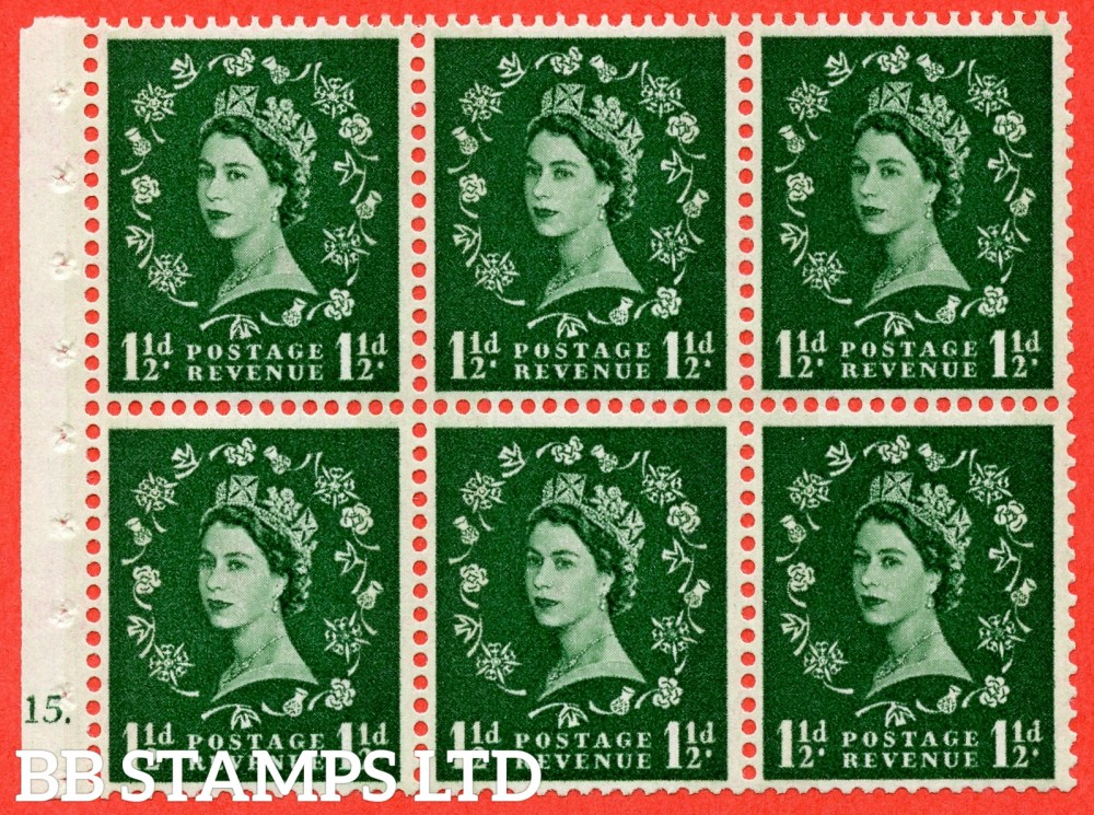 "SG. 612. SB72. 1½d Green. A fine UNMOUNTED MINT cylinder "" G15 dot "" booklet pane of 6. Perf type (Iet) with GOOD PERFS. Smooth edge. Cream Paper."