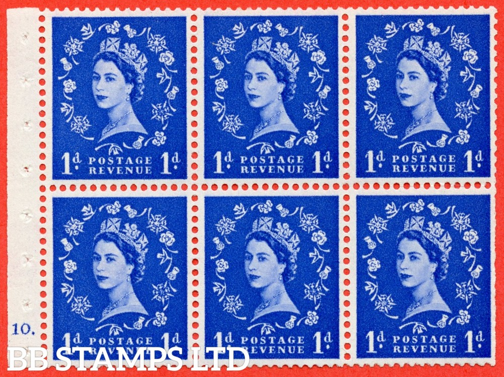 "SG. 571. SB30. 1d Ultramarine. A fine UNMOUNTED MINT cylinder "" F10 dot "" booklet pane of 6. Perf type (Ieb) with TRIMMED PERFS. Smooth edge Cream paper."