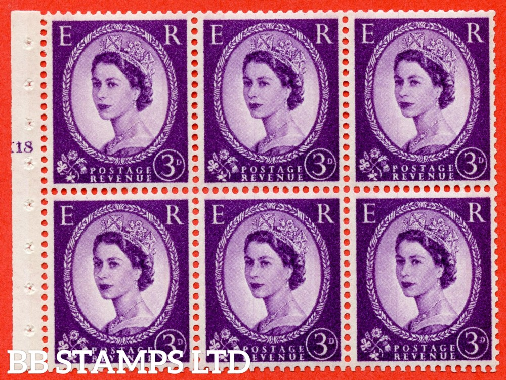 "SG. 615. SB100. 3d Deep Lilac. A fine mounted mint cylinder "" K18 T no dot "" booklet pane of 6. Perf type (I) with TRIMMED PERFS. Smooth edge. White Paper."