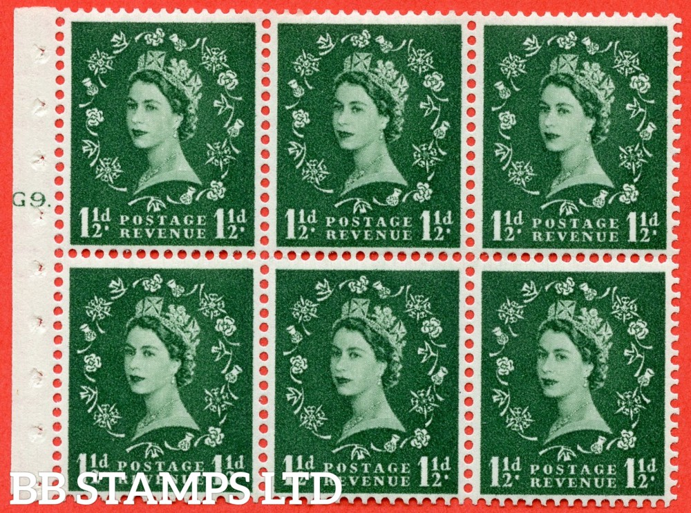 "SG. 542. SB62. 1½d green. A fine mounted mint cylinder "" G9 T dot "" booklet pane of 6. Perf type (Ieb) with GOOD PERFS. Smooth edge."
