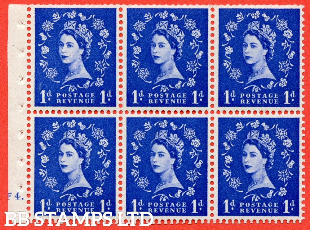 "SG. 516. SB20. 1d ultramarine. A fine UNMOUNTED MINT cylinder "" F4 dot "" booklet pane of 6. Perf type (Ieb) with TRIMMED PERFS. Smooth edge. Dot in Serif of "" 1 "" Flaw R1/3."