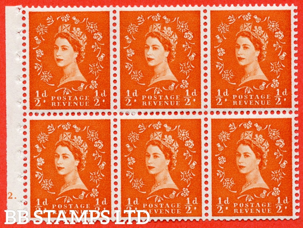 "SG. 570. SB8. ½d orange - red. A fine UNMOUNTED MINT cylinder "" E12 dot "" booklet pane of 6. Perf type (Ieb) with GOOD PERFS. Rough edge White paper."