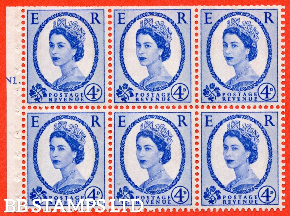 "SG. 616a. SB109. 4d Deep Ultramarine. A fine UNMOUNTED MINT cylinder "" N1 T dot "" booklet pane of 6. Perf type (Iet) with TRIMMED PERFS. Smooth edge. White Paper."