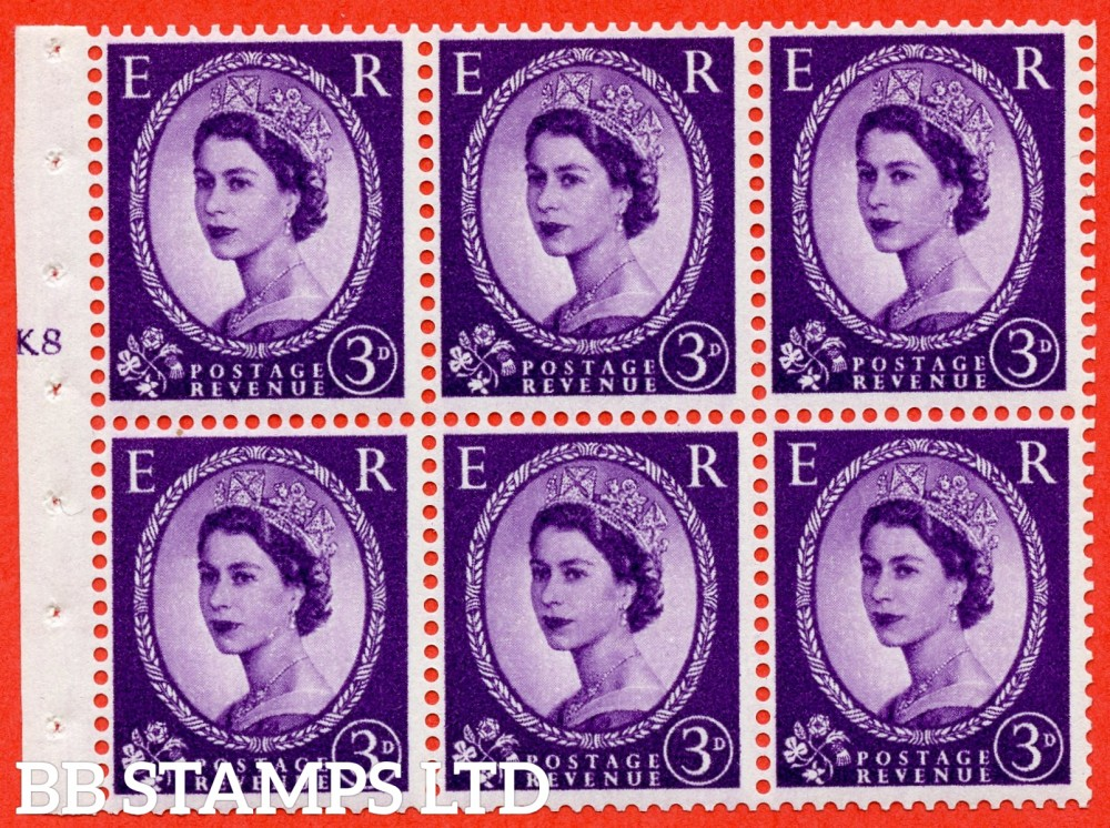 "SG. 545. SB90. 3d Deep Lilac. A fine UNMOUNTED MINT cylinder "" K8 T no dot "" booklet pane of 6. Perf type (I) with GOOD PERFS. Smooth edge."