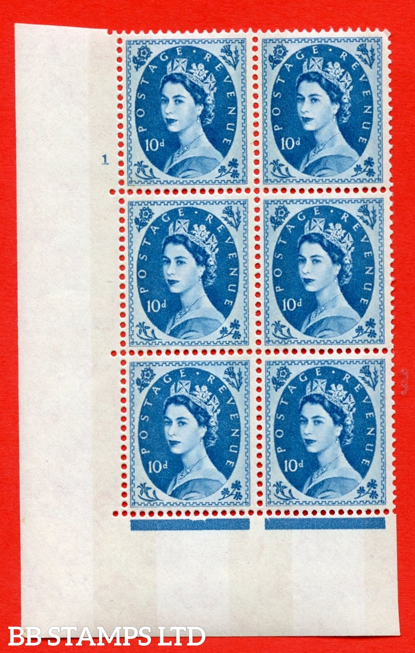 "SG.617d. S133. 10d Prussian Blue. A superb UNMOUNTED MINT "" cylinder 1 no dot "" control block of 6 with perf type A (E/I). violet Phosphor 9½mm Band"