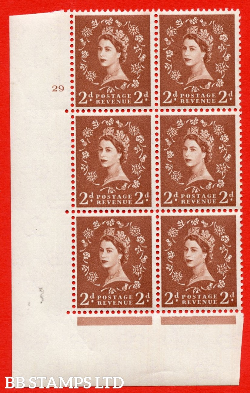 """SG. 573. S40. 2d light red brown . A superb UNMOUNTED MINT """" cylinder 29 no dot """" control block of 6 with perf type A E/I. CREAM paper."""