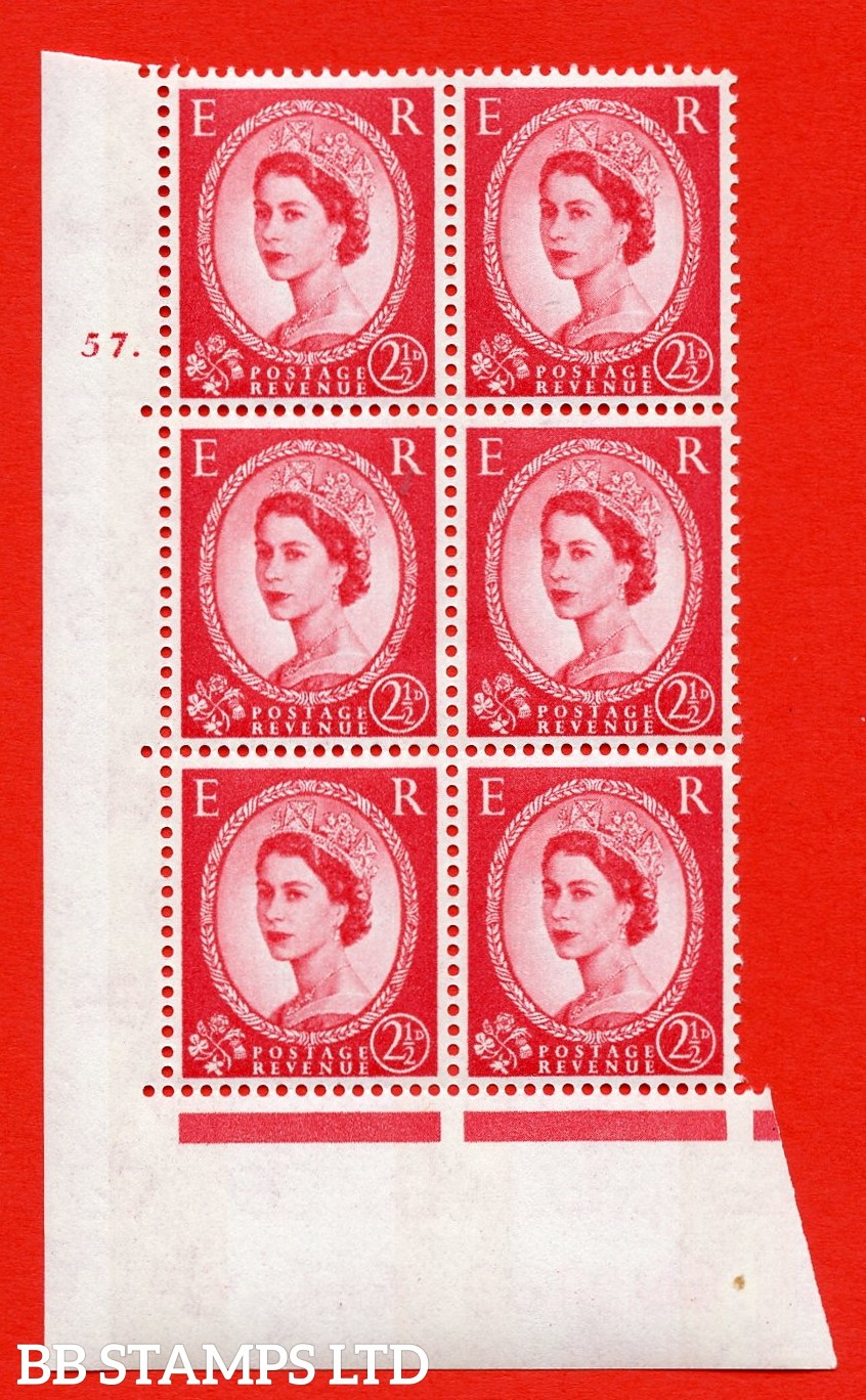 "SG.614. S66. 2½d Carmine red. 2B Photo. A superb UNMOUNTED MINT "" cylinder 57 dot "" control block of 6 with perf type A (E/I). Blue Phosphor White paper"