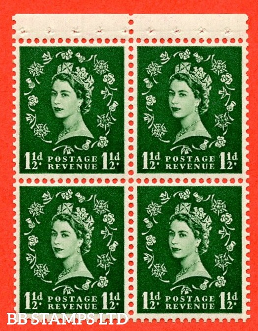 SG. 517. SB60.1½d green. A Superb UNMOUNTED MINT. Complete booklet pane of 4 with perf type P. Good perfs.