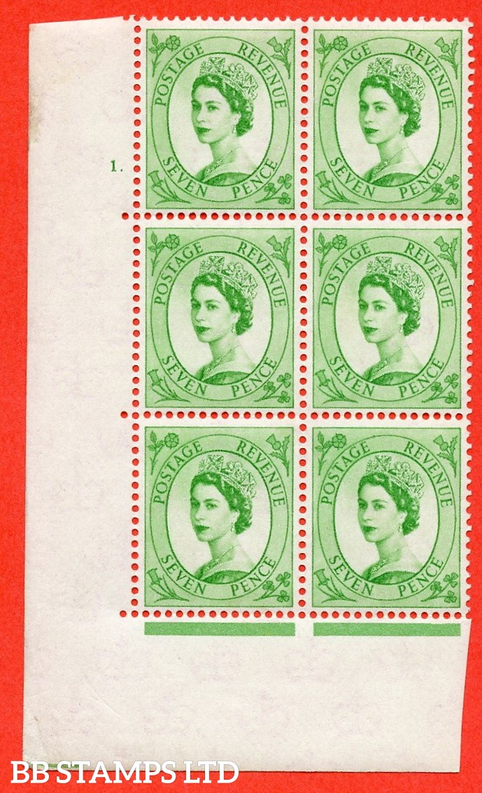 "SG S116. 7d Bright Green  A superb UNMOUNTED MINT "" cylinder 1 dot "" control block of 6 with perf type A (E/I)."