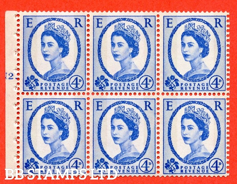 "SG. 616a. SB111. 4d Deep Ultramarine. A fine UNMOUNTED MINT cylinder "" N2 T dot "" booklet pane of 6. Perf type (Iet) with GOOD PERFS. Smooth edge."