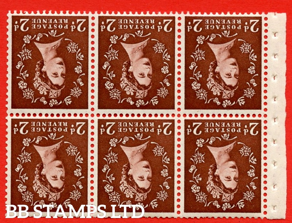 SG. 518. SB76. 2d red - brown. A fine UNMOUNTED MINT. INVERTED WATERMARK booklet pane of 6. Perf type (IR) with Trimmed PERFS.