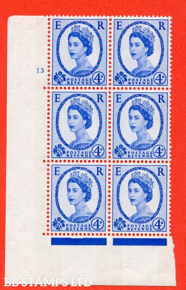 "SG.616a. S90. 4d Deep Ultramarine. A fine mounted mint  "" cylinder 13 no dot "" control block of 6 with perf type A (E/I). Blue Phosphor White paper."