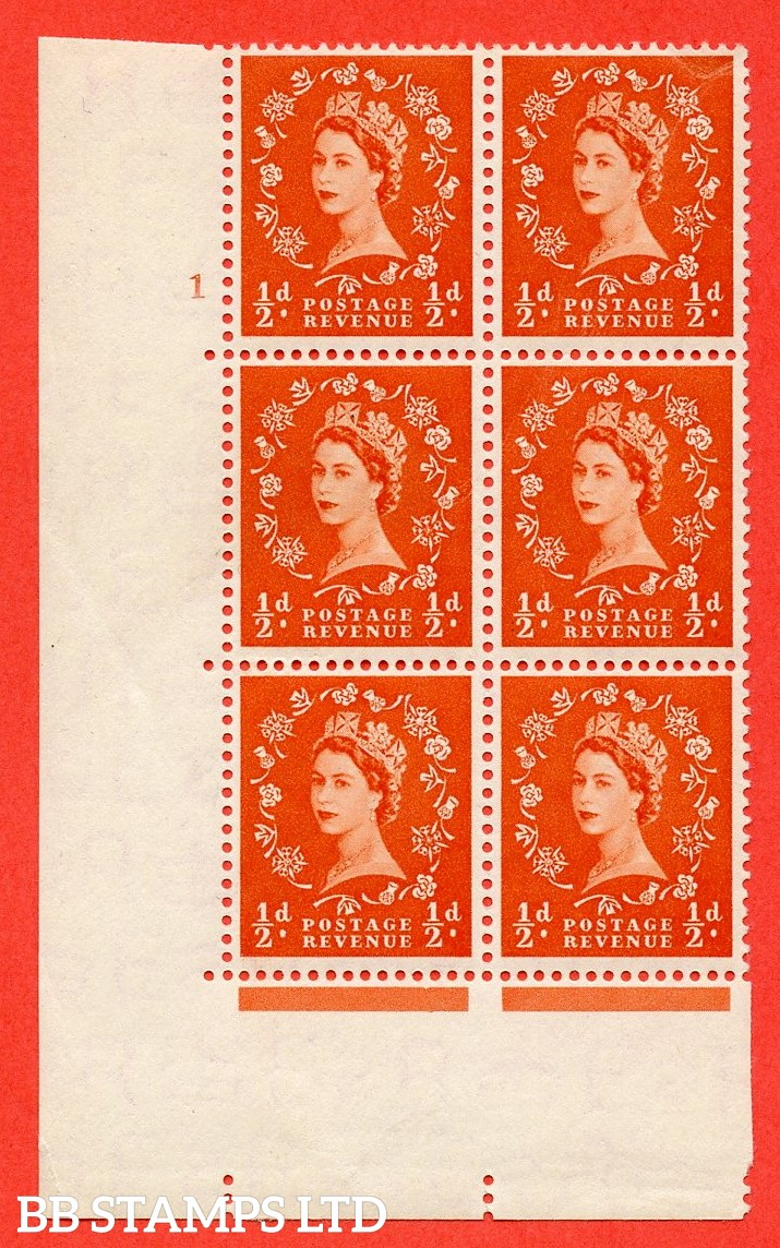 "SG. 515. S1. ½d Orange-Red. A superb UNMOUNTED MINT. "" cylinder 1 no dot "" control block of 6 with perf type A E/I."