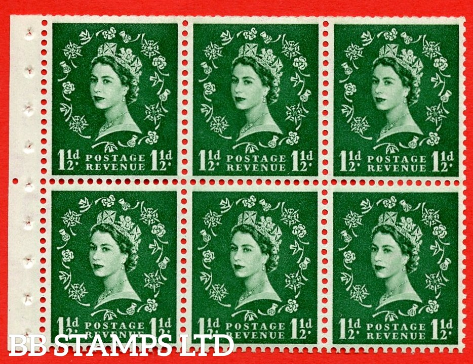 SG. 517. SB59. 1½d green. A fine UNMOUNTED MINT complete booklet pane of 6. Perf type (Iem) with Trimmed PERFS.
