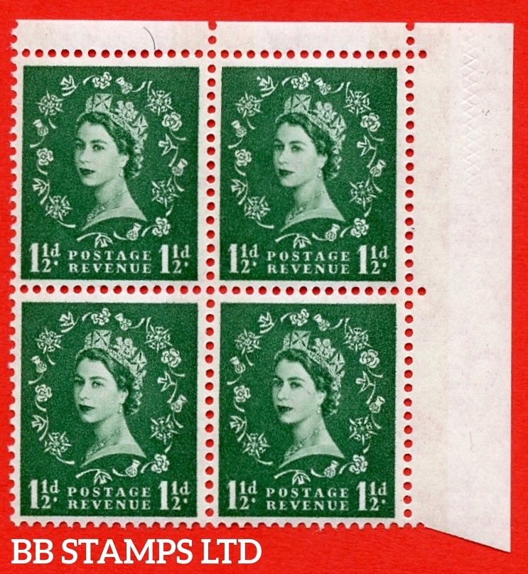 SG. 612. S34g. 1½d Green. A superb MOUNTED MINT example. Top right corner marginal positional block of 4. From cylinder 22 dot. Blue phosphor white paper. With a daffodil flaw ERROR. R.1/12 variety. (variety is UM)