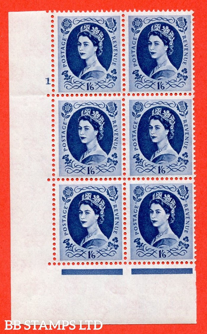 """SG. 586. S153. 1s 6d. Grey-blue. A superb UNMOUNTED MINT """" cylinder 1 no dot """" control block of 6 with perf type A E/I. WHITE paper."""
