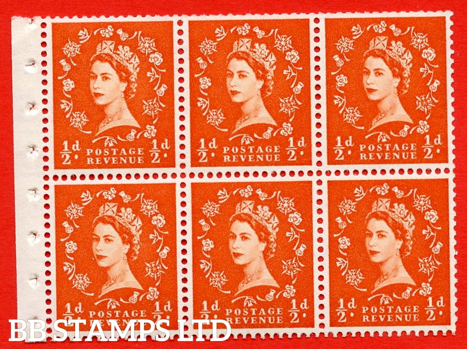 SG. 515. SB1. ½d orange - red. A fine UNMOUNTED MINTexample. Complete Booklet pane of 6. Perf Type Ieb. Trimmed perfs.