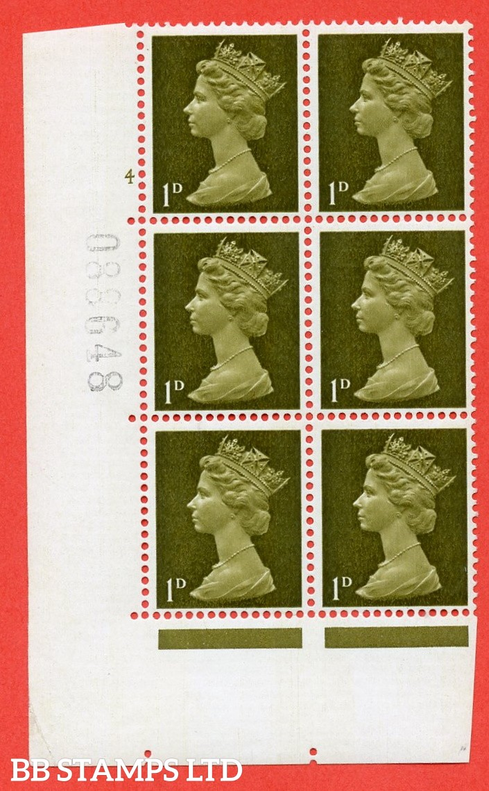 "SG. 724. U2 (2) . 1d yellowish olive A superb UNMOUNTED MINT "" cylinder 4 no dot "" control block of 6 with perf type A E/I. PVA gum. Head B."