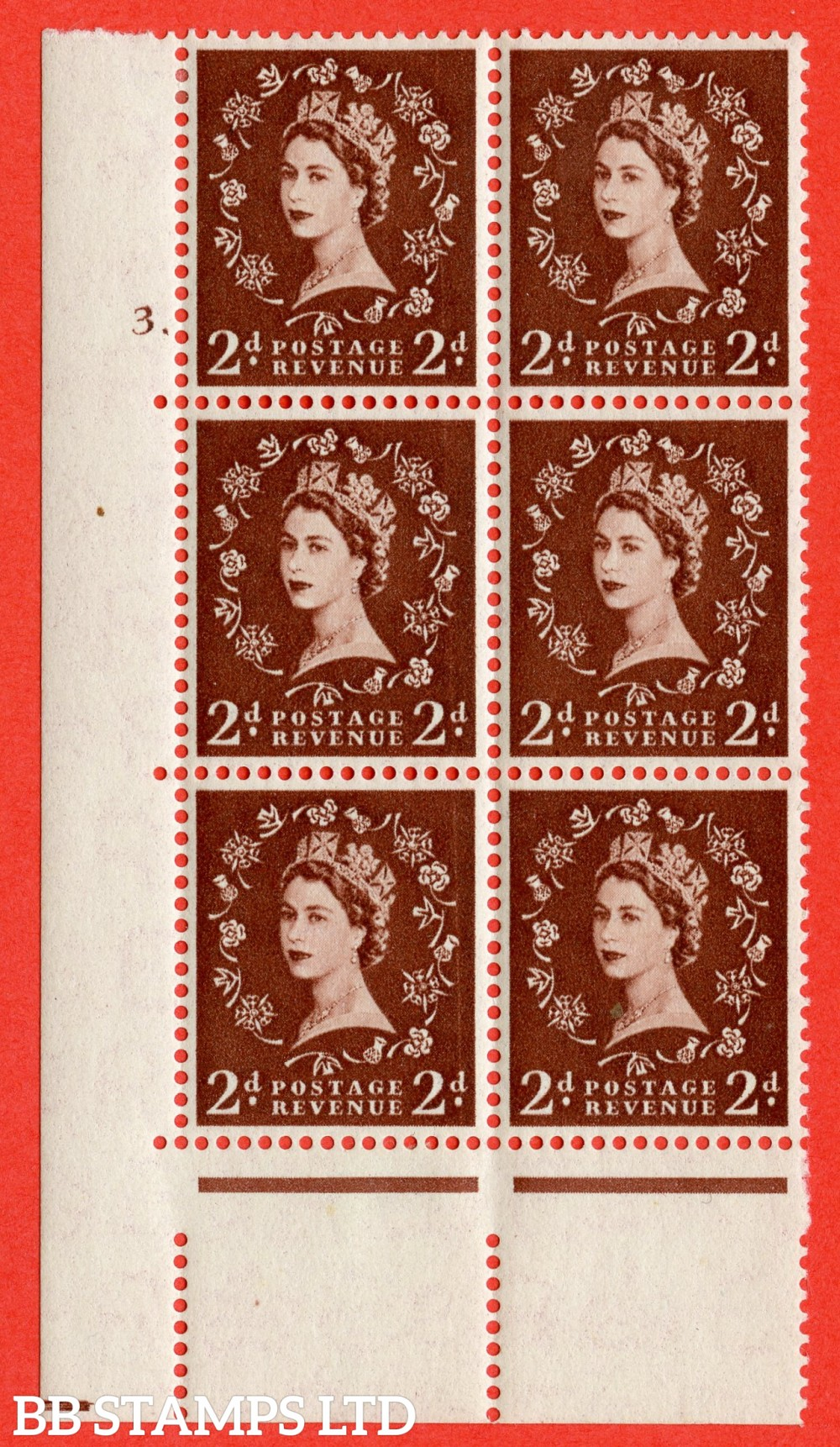 "SG. 543. S37. 2d. Red-brown. A fine lightly mounted mint "" cylinder 3 dot "" control block of 6 with perf type A E/I."