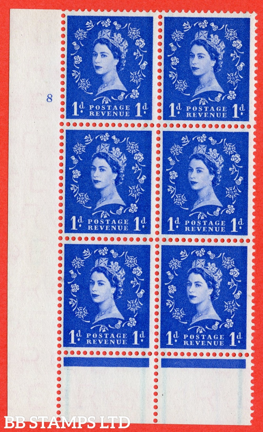"SG. 562. S15. 1d Ultramarine. A fine lightly mounted mint "" cylinder 8 no dot "" control block of 6 with perf type B I/P."