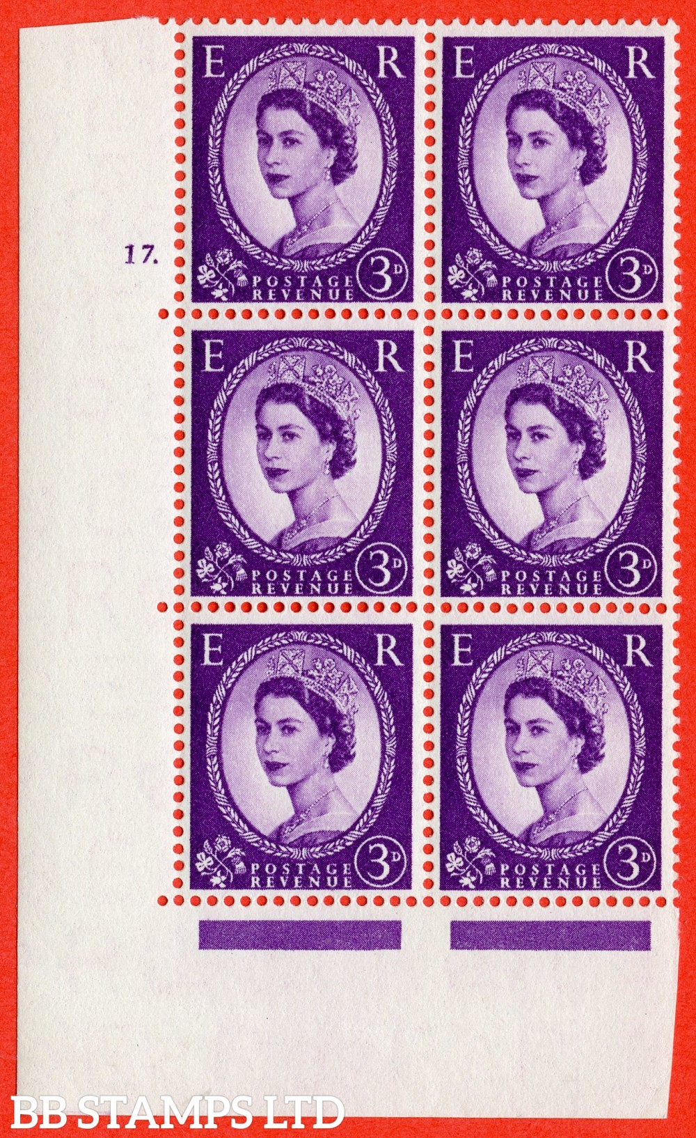 "SG. 545. S68. 3d. Deep - Lilac. A superb UNMOUNTED MINT "" cylinder 17 dot "" control block of 6 with perf type A E/I."