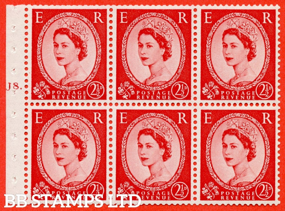 "SG. 544b. SB81. 2½d carmine - red. A fine mounted mint "" J8 T dot "" booklet pane of 6. Perf type (Ieb) with TRIMMED PERFS. Smooth edge."