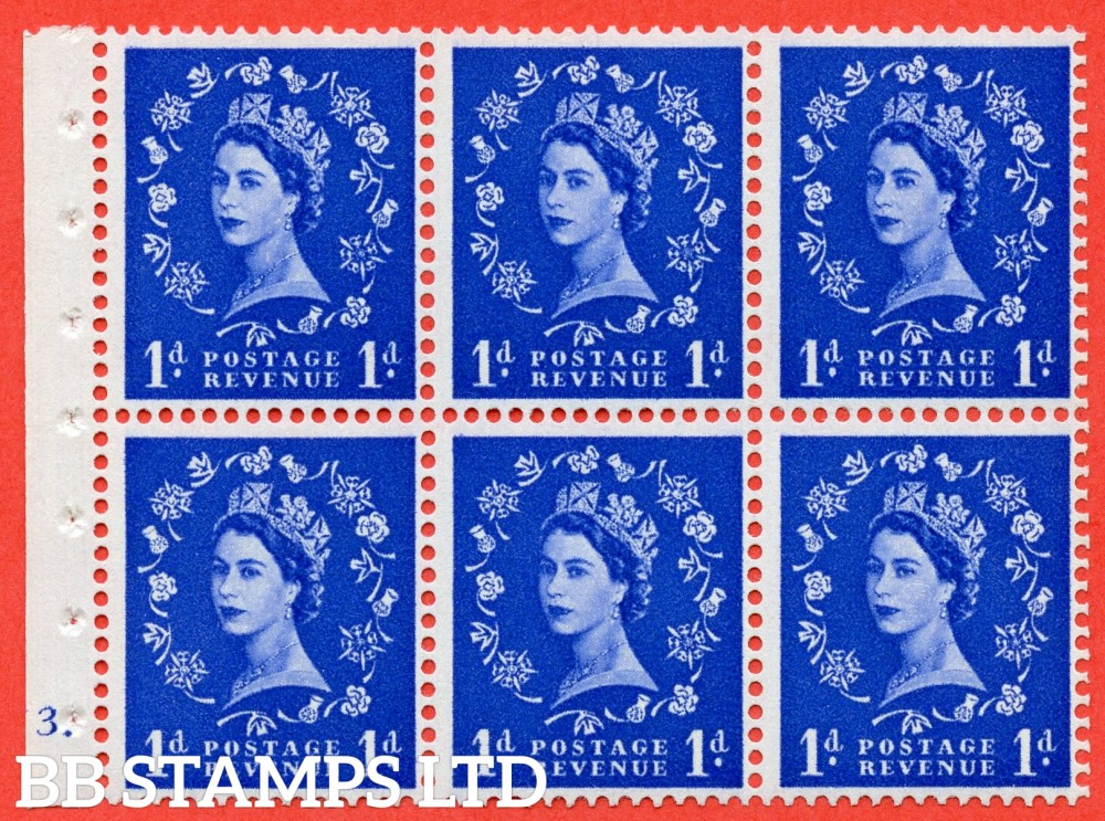 "SG. 541. SB26. 1d ultramarine. A fine UNMOUNTED MINT cylinder "" F3 dot "" booklet pane of 6. Perf type (Iet) with GOOD PERFS. Smooth edge."