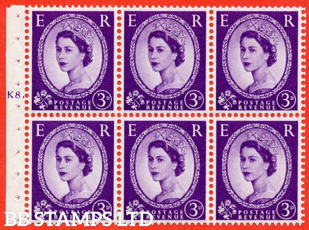 "SG. 545. SB90. 3d Deep Lilac. A fine UNMOUNTED MINT cylinder "" K8 T  dot "" booklet pane of 6. Perf type (Iet) with GOOD PERFS. Smooth edge."