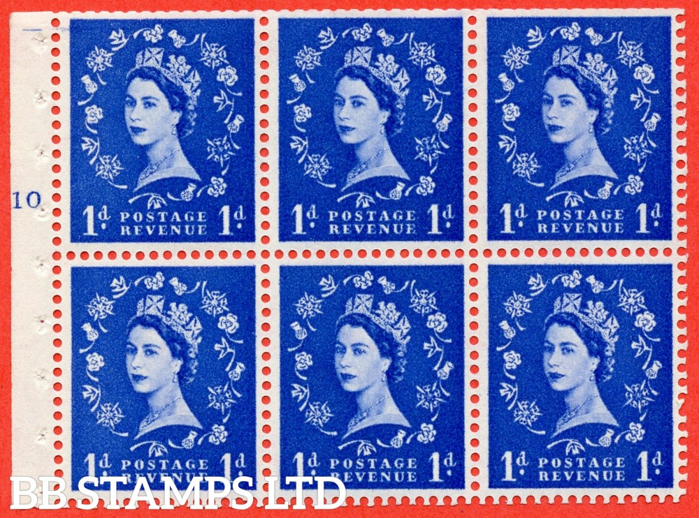 "SG. 571. SB30. 1d Ultramarine. A fine UNMOUNTED MINT cylinder "" F10 T No dot "" booklet pane of 6. Perf type (I) with TRIMMED PERFS. Smooth edge Cream paper."