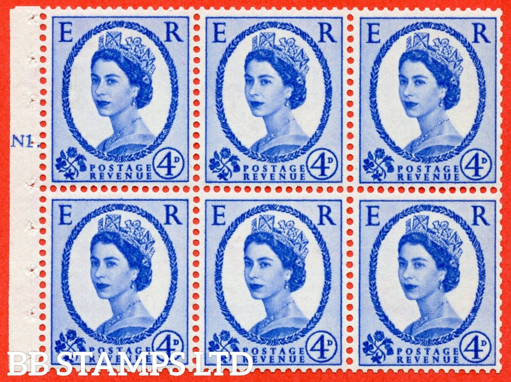 "SG. 576a. SB105. 4d Deep Ultramarine. A fine UNMOUNTD MINT cylinder "" N1 T dot "" booklet pane of 6. Perf type (Iet) with GOOD PERFS. Smooth edge. White paper."