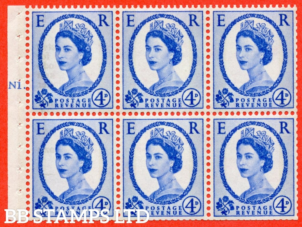 "SG. 616a. SB109. 4d Deep Ultramarine. A fine UNMOUNTED MINT cylinder "" N1 T dot "" booklet pane of 6. Perf type (Ieb) with TRIMMED PERFS. Smooth edge. White Paper."