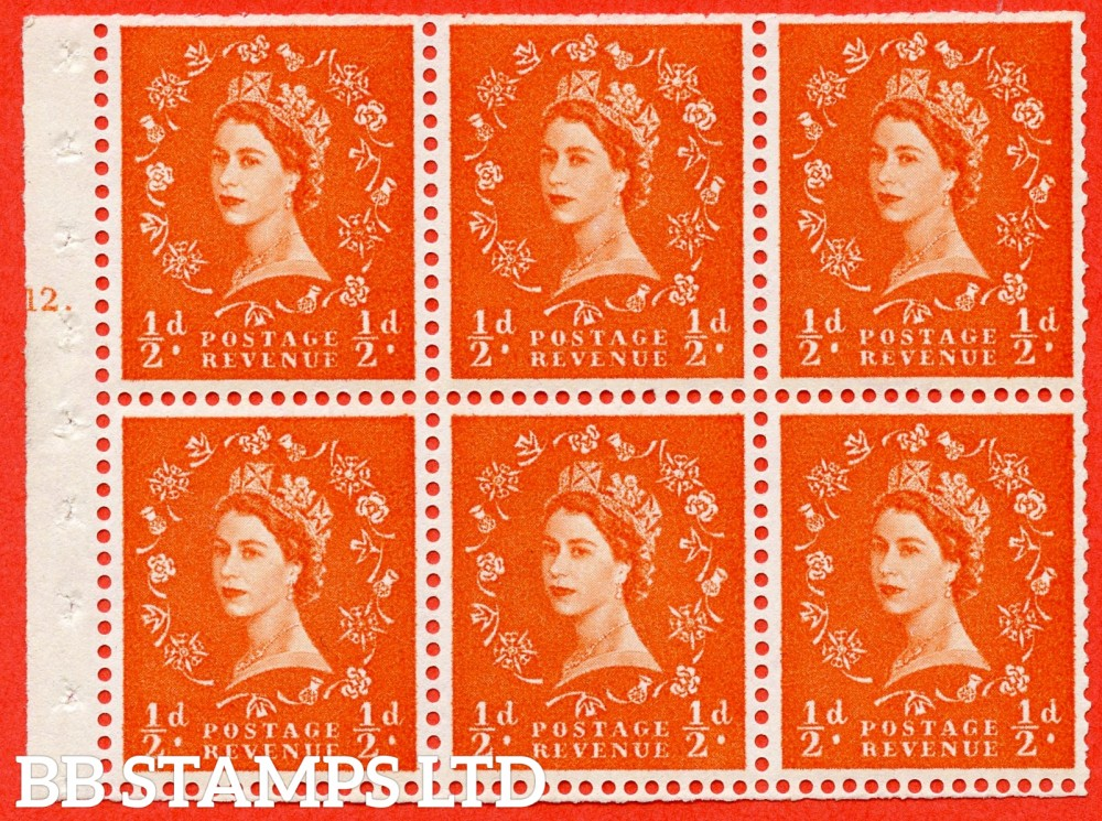 "SG. 570. SB8. ½d orange - red. A fine UNMOUNTED MINT cylinder "" E12 T dot "" booklet pane of 6. Perf type (Iet) with TRIMMED PERFS. Rough edge White paper."