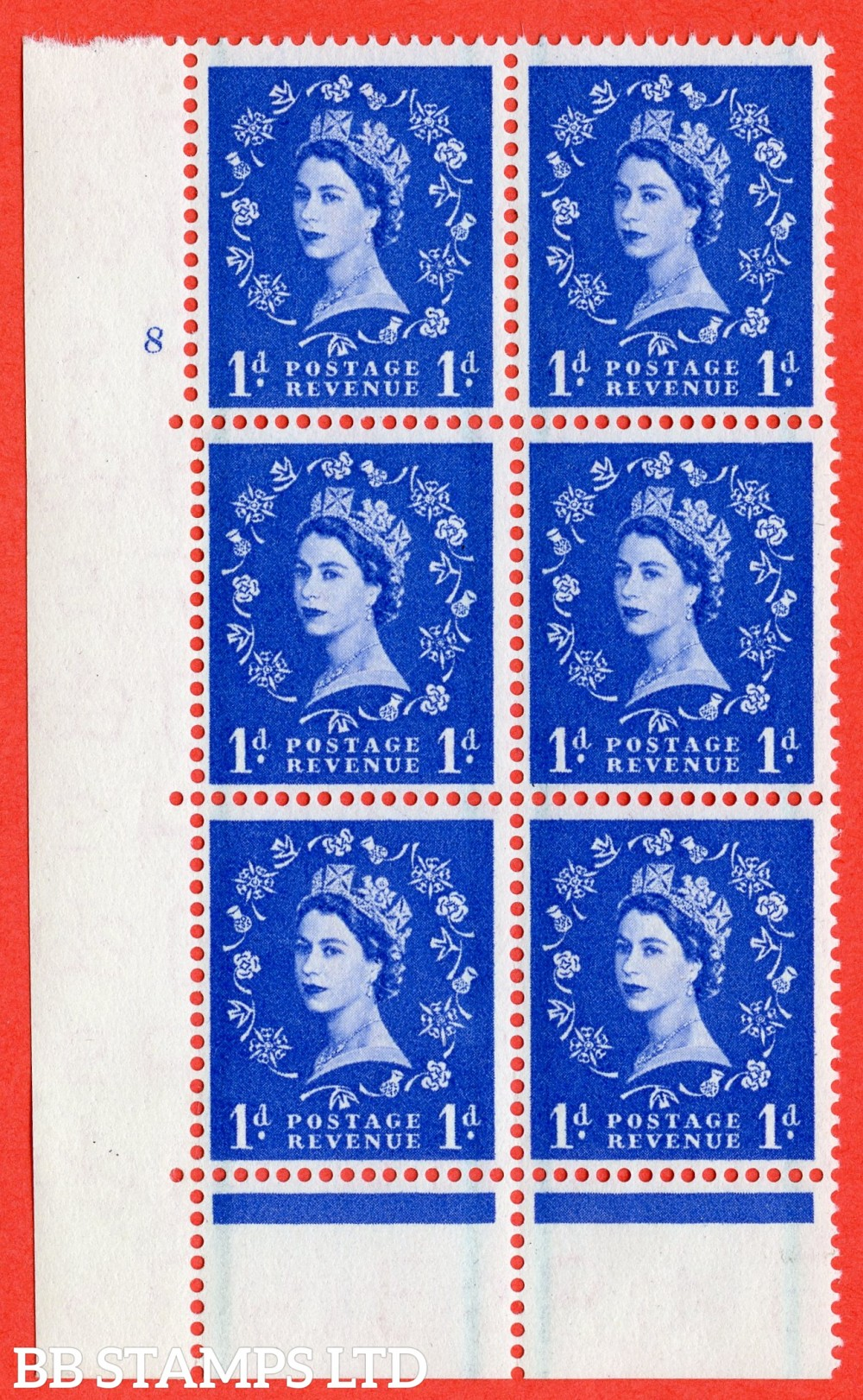 "SG. 562. S15. 1d Ultramarine. A fine lightly mounted mint "" cylinder 8 no dot "" control block of 6 with perf type C E/P."