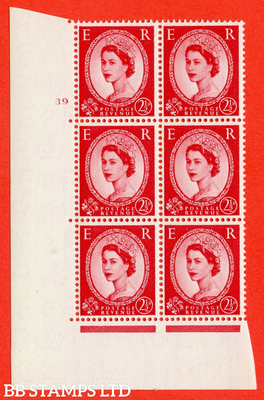 "SG. 544. S52. 2½d. Carmine - Red. A superb UNMOUNTED MINT "" cylinder 39 no dot "" control block of 6 with perf type A E/I."