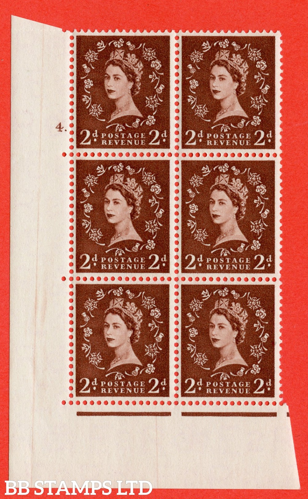 "SG. 543. S37. 2d. Red-brown. A superb UNMOUNTED MINT "" cylinder 4 dot "" control block of 6 with perf type A E/I."