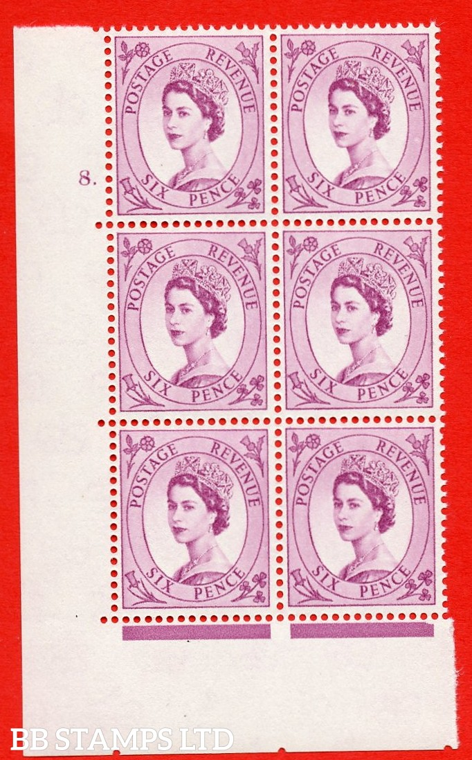 "SG S107. 6d Deep claret  A superb UNMOUNTED MINT "" cylinder 8 dot "" control block of 6 with perf type A (E/I)."