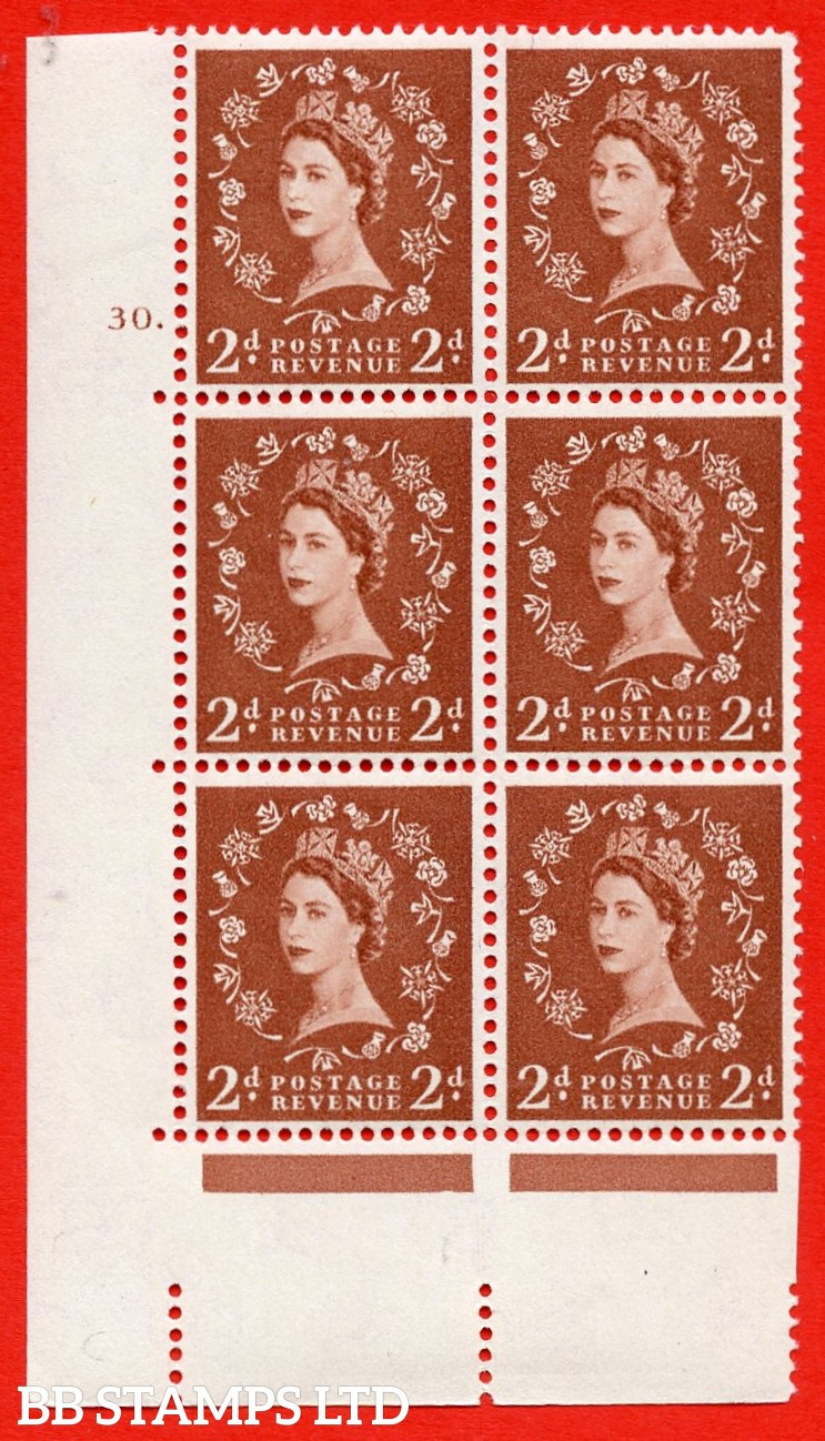 "SG. 573. S40. 2d light red brown . A superb UNMOUNTED MINT "" cylinder 30 dot "" control block of 6 with perf type A E/I. CREAM paper."
