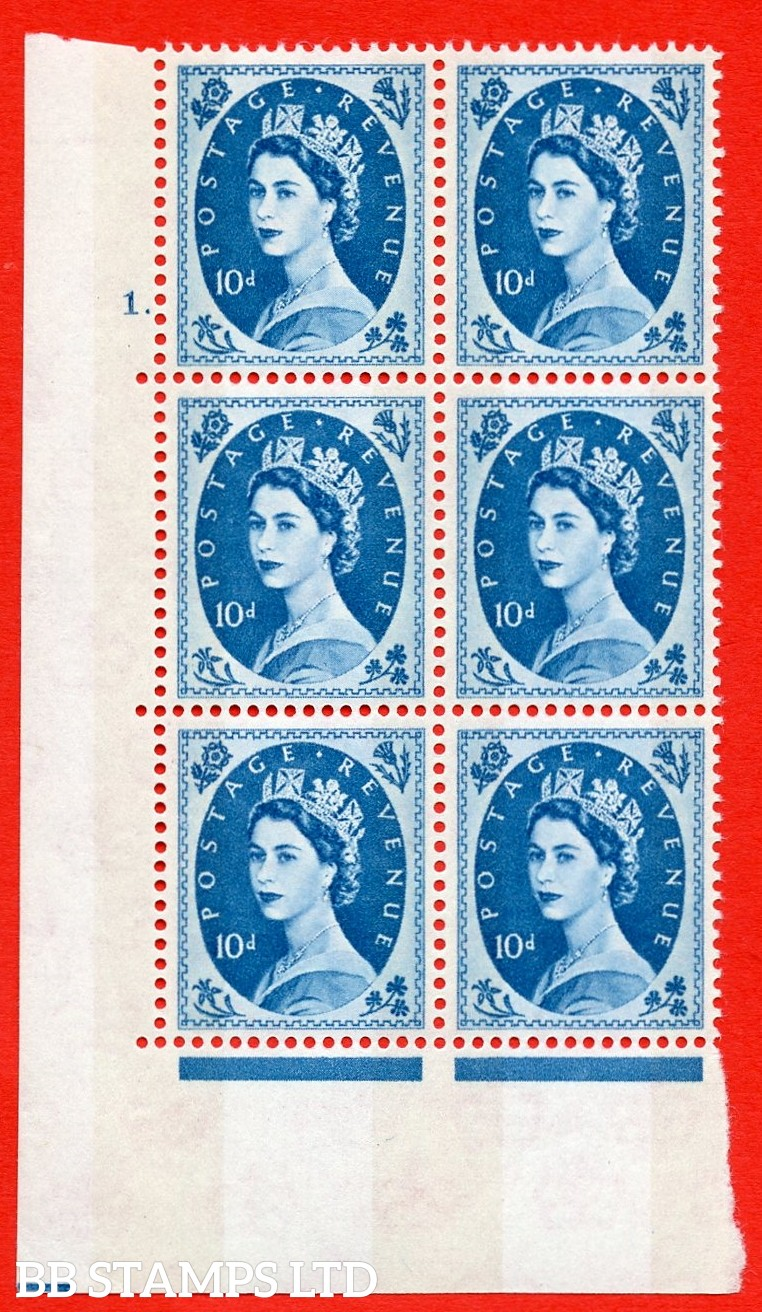 "SG.617d. S133. 10d Prussian Blue. A superb UNMOUNTED MINT "" cylinder 1 dot "" control block of 6 with perf type A (E/I). violet Phosphor 9½mm Band"