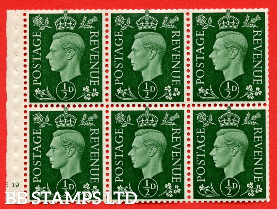 SG. QB1 Perf Type B3(I). ½d Green x 6 Pane, UNMOUNTED MINT Watermark Upright. Cylinder Pane E19 no dot ( SG. 462b ) Perf Type B3(I). Trimmed Perfs.