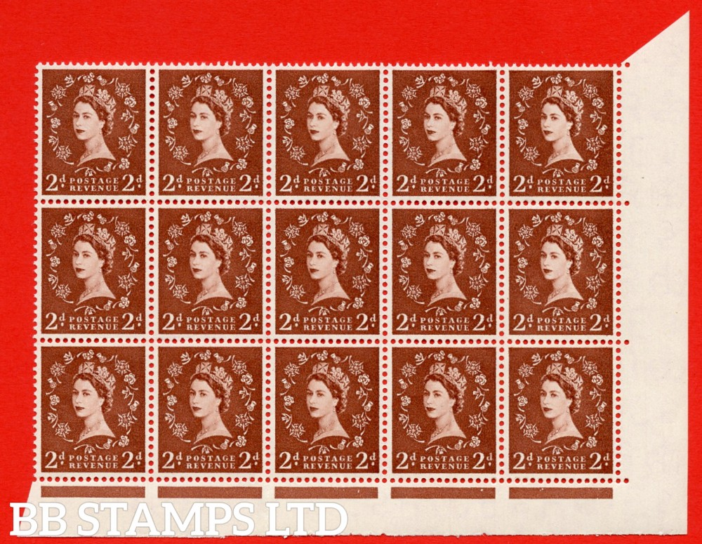 SG. 543b. S38k. 2d. Light Red-brown. A superb UNMOUNTED MINT example from cylinder 9 dot. corner marginal positional Block of 15. With a white spot by daffodil R18/8 variety.