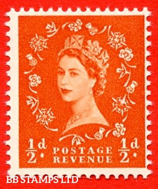 SG. 540. S2f. ½d. Orange-red. A superb UNMOUNTED MINT Example from Cylinder Block 2 dot. Variety Rose Flaw (Cly.2 Dot,R19/12)
